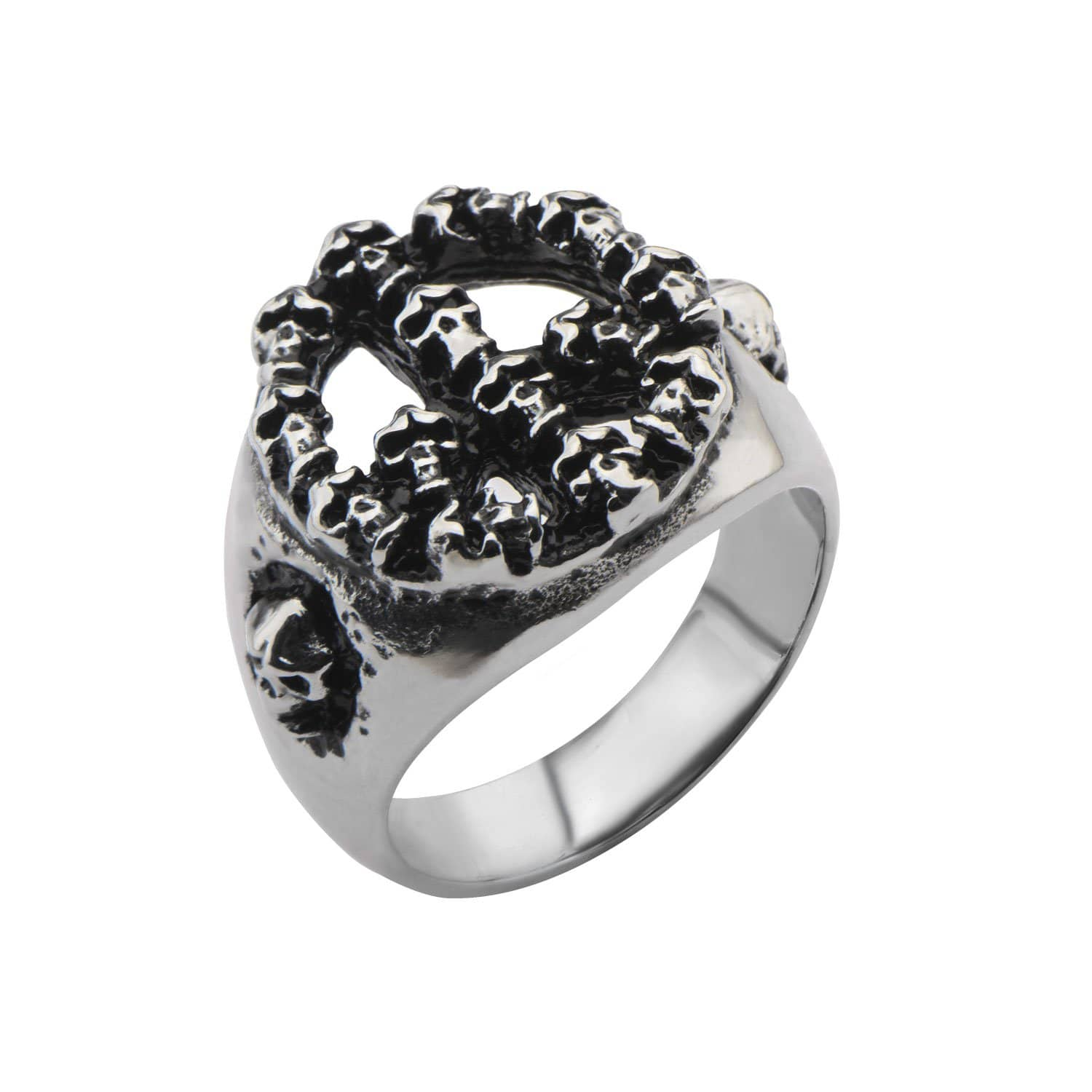 Darkened Silver Stainless Steel Stacked Skull Peace Ring