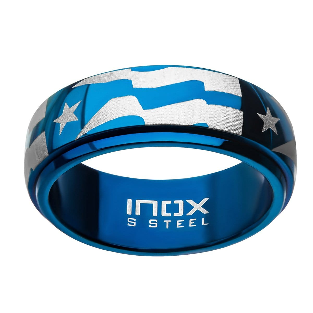 Blue & Silver Stainless Steel Star with Stripes Spinner Ring