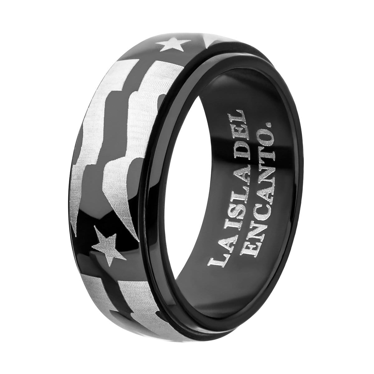 Black & Silver Stainless Steel Star with Stripes Spinner Ring