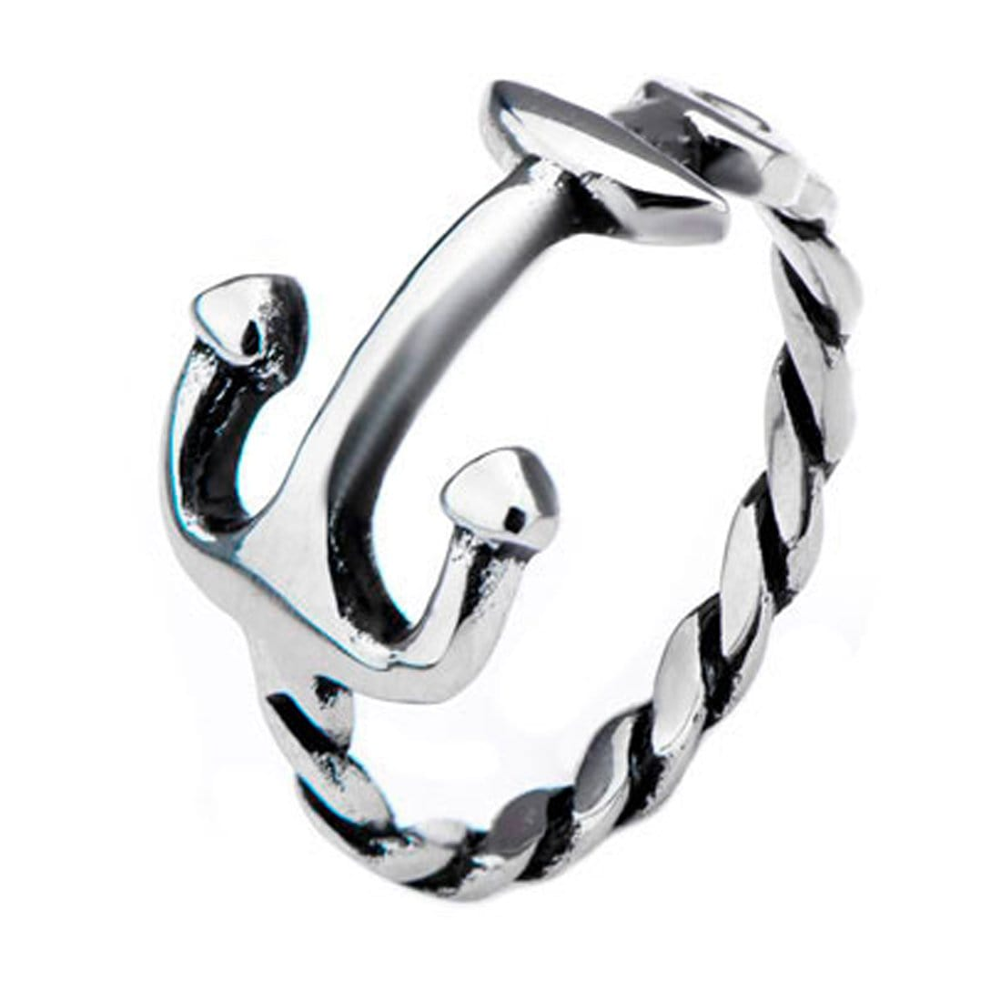 Silver Stainless Steel Braided Rope Design Anchor Ring