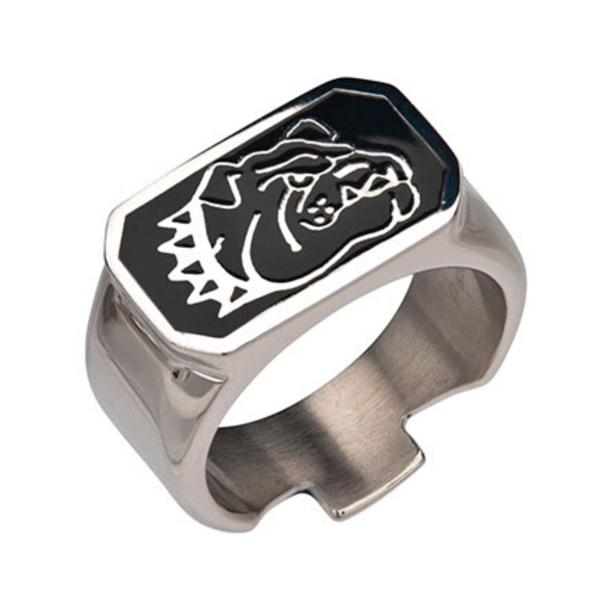 Black & Silver Stainless Steel Bulldog Bottle Opener Ring