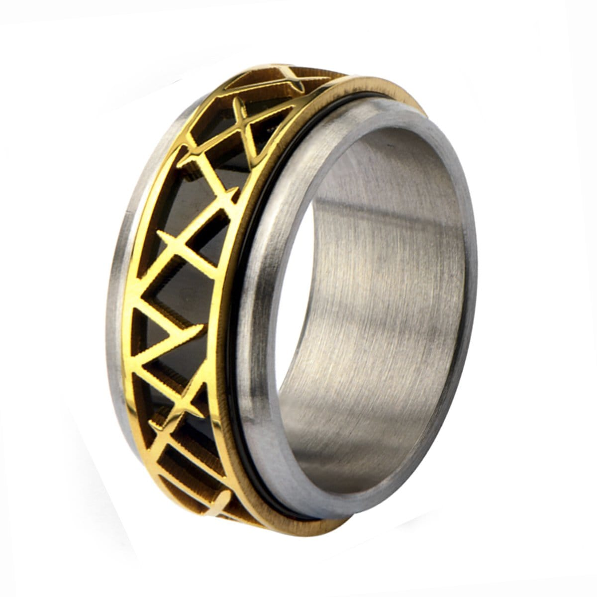 Gold, Black & Silver Stainless Steel Crown of Thorns Ring - Inox Jewelry India