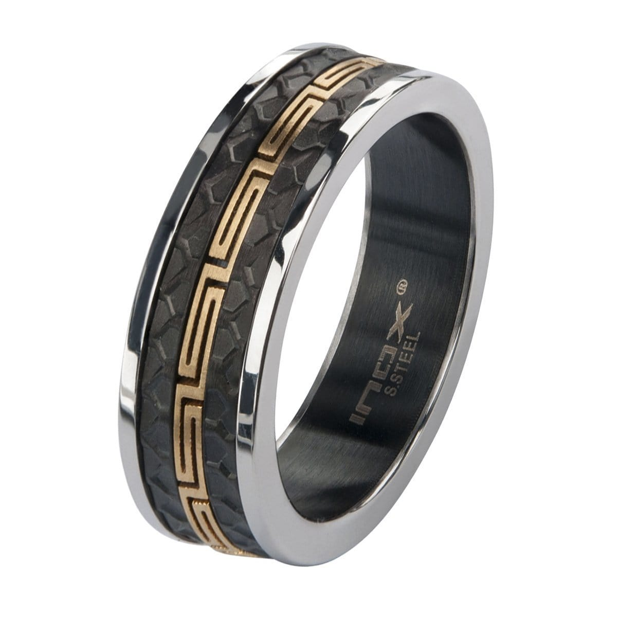 Gold, Black & Silver Stainless Steel Honeycomb & Greek Stripe Ring Rings