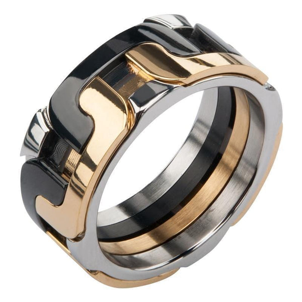 Gold, Black & Silver Stainless Steel Large Interlock Ring Rings