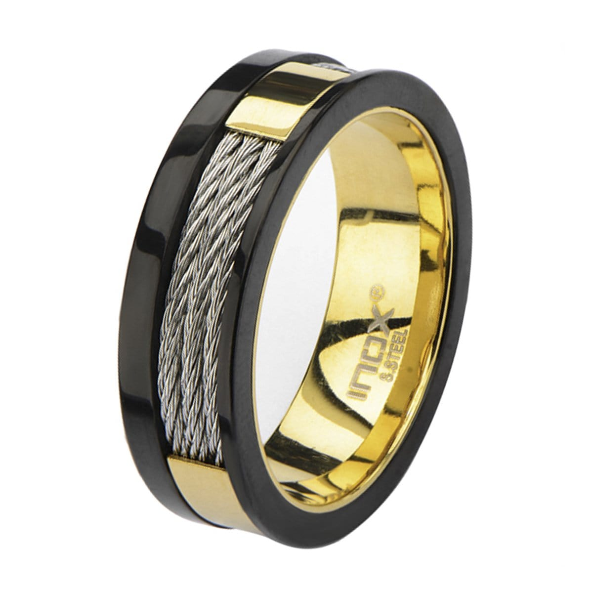 Gold, Black & Silver Stainless Steel Partial Exposed Cable Ring - Inox Jewelry India