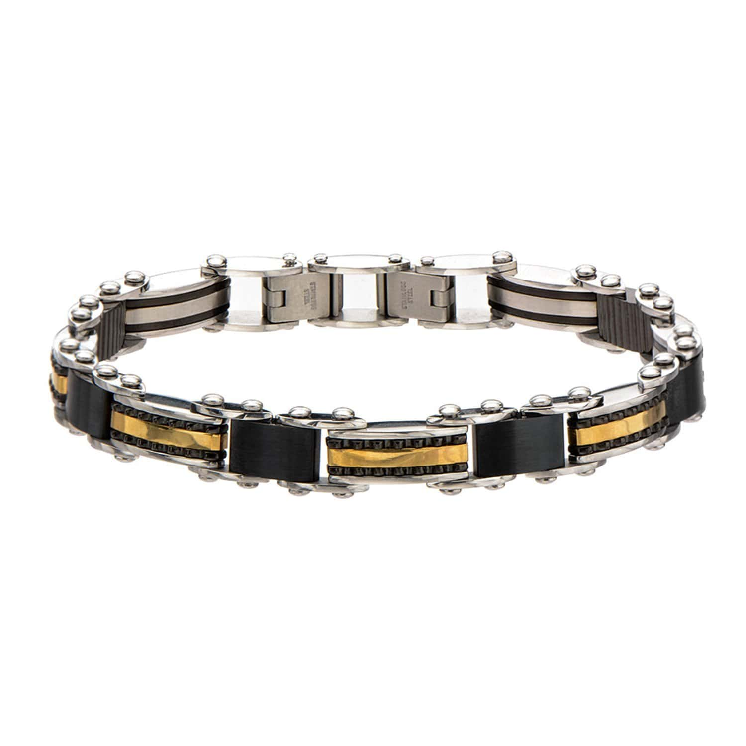 Gold, Black & Silver Stainless Steel Reversible Stripe/Bead Bracelet - Inox Jewelry India