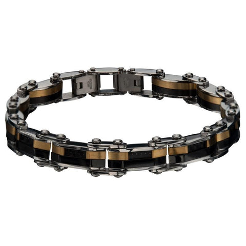 Gold, Black & Silver Stainless Steel Reversible Stripe Bracelet Bracelets
