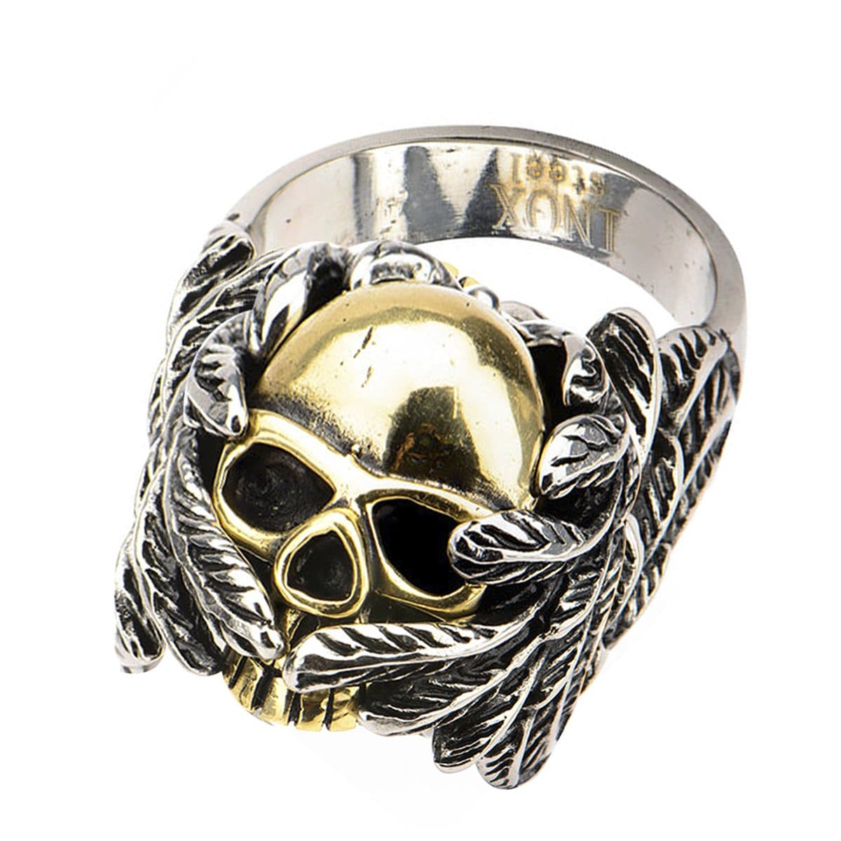 Gold & Darkened Silver Stainless Steel Bundled Skull in Wings Ring - Inox Jewelry India