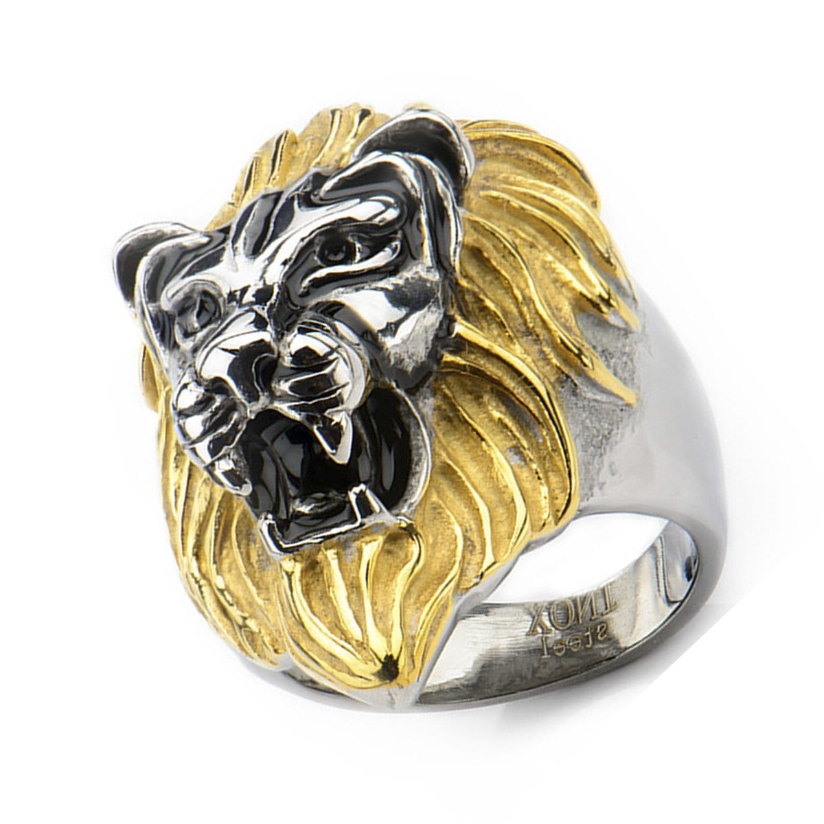 Gold & Darkened Silver Stainless Steel Lion's Head Ring - Inox Jewelry India