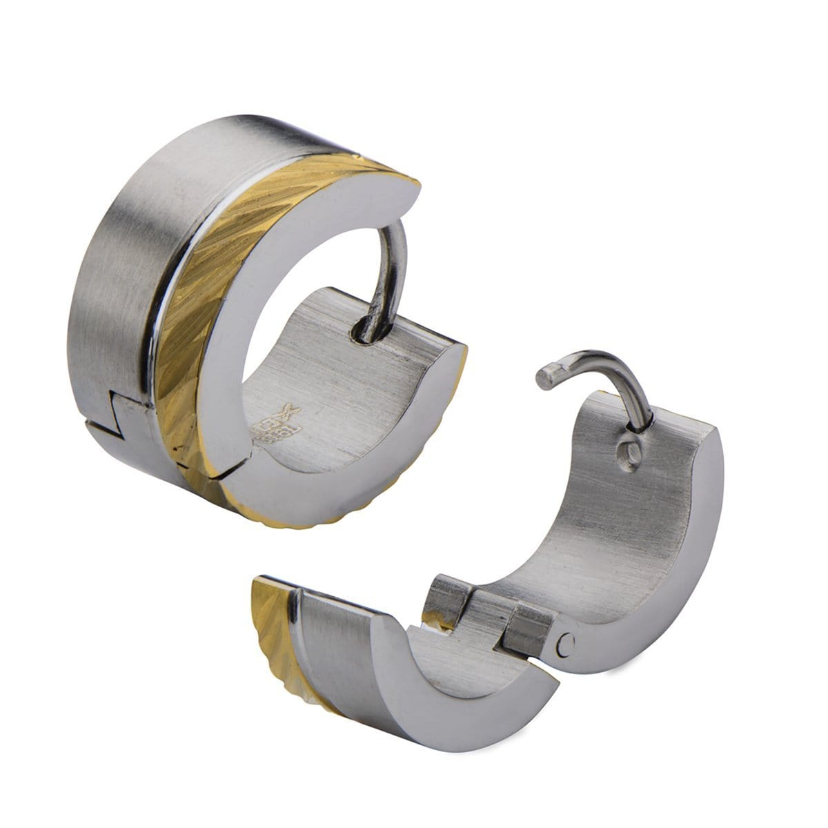 Gold & Silver Stainless Steel 7mm Dual Tone Split Color Huggies Earrings