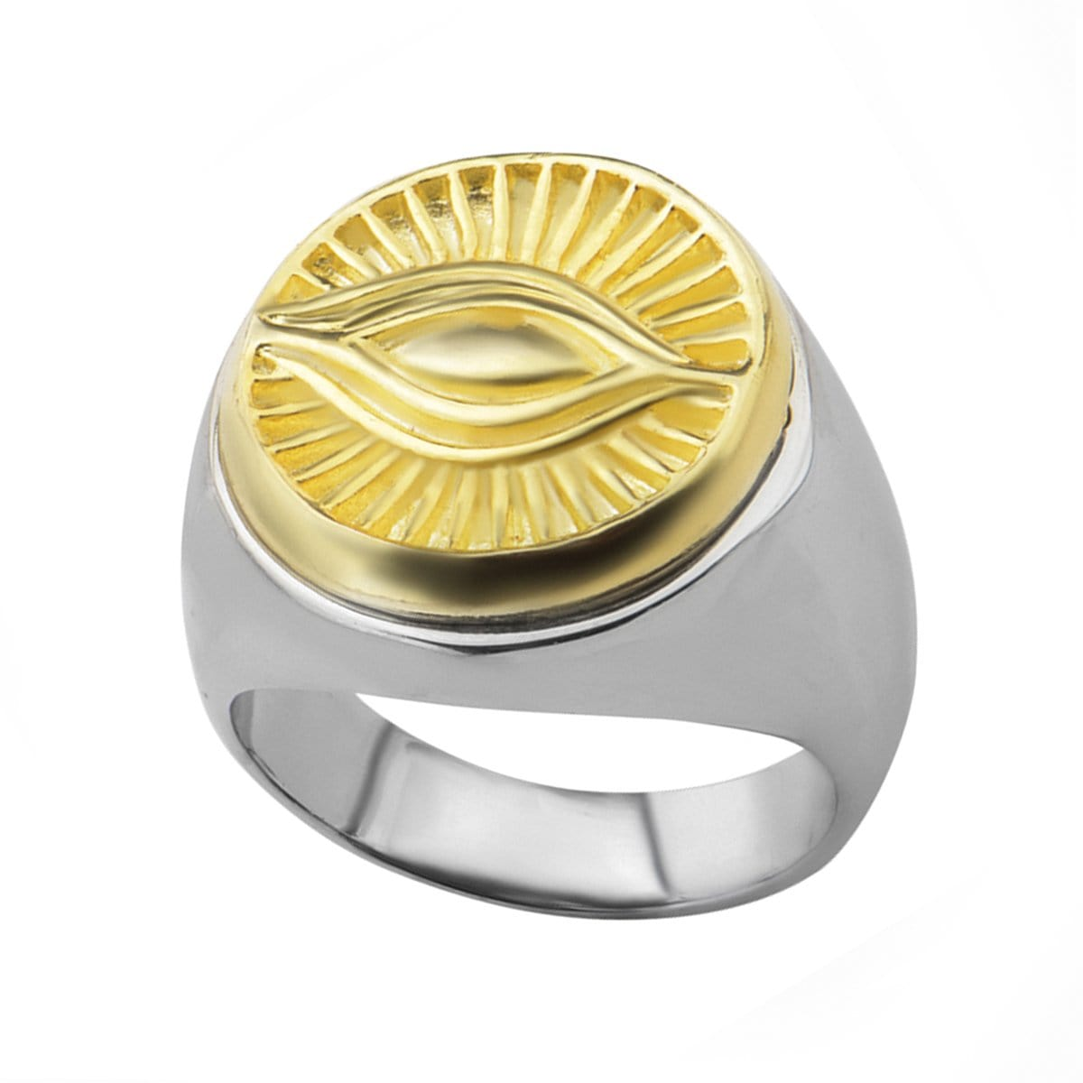 Antique Gold & Silver Stainless Steel All Seeing Eye of God Ring - Inox Jewelry India