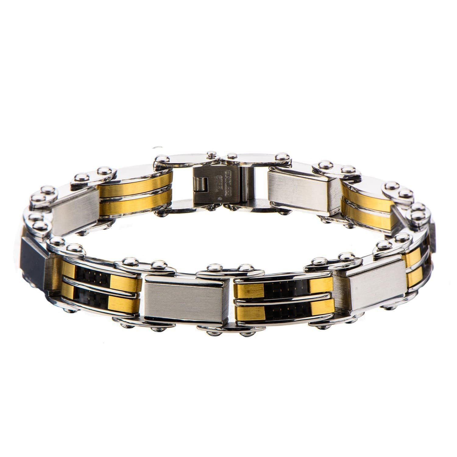 Gold & Silver Stainless Steel, Carbon Fiber Reversible Bracelet - Inox Jewelry India