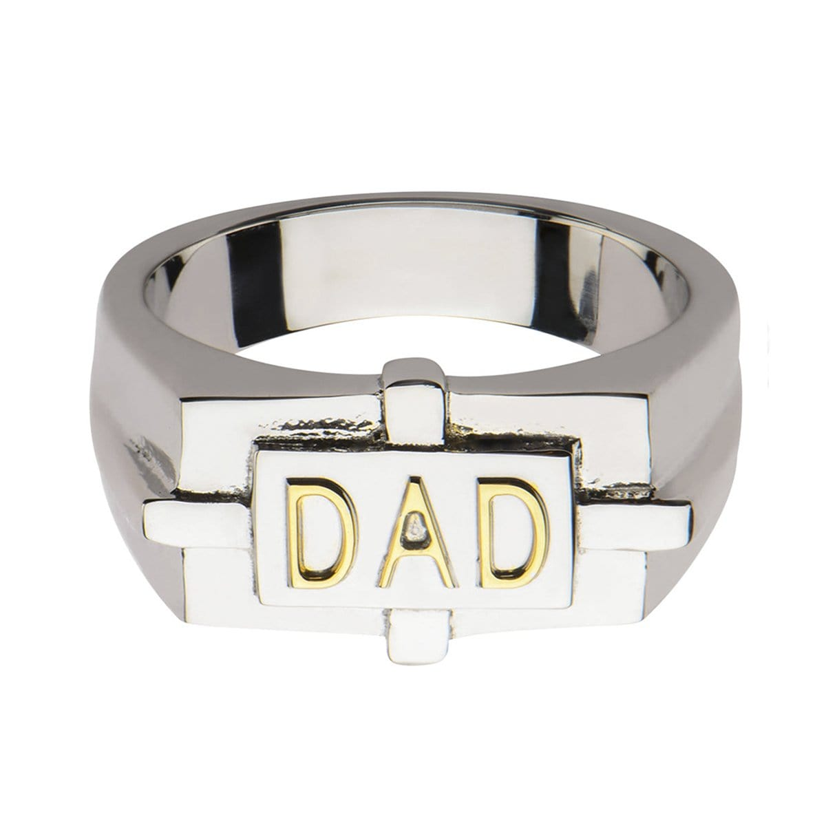 Gold & Silver Stainless Steel DAD Engraved Ring