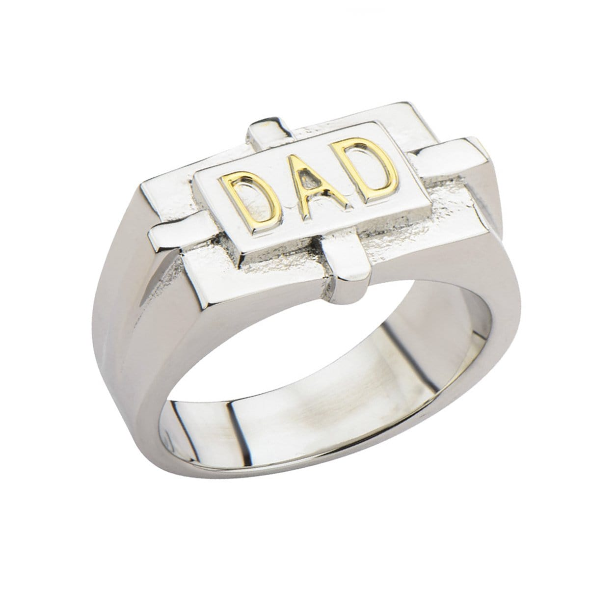 Gold & Silver Stainless Steel DAD Engraved Ring Rings