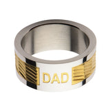 Gold & Silver Stainless Steel Engraved DAD Patterned Band