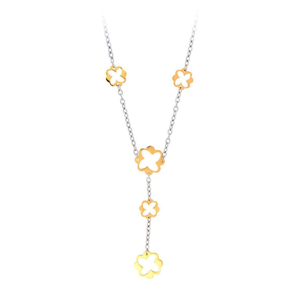Gold & Silver Stainless Steel Flower Cut-Out Necklace Chains