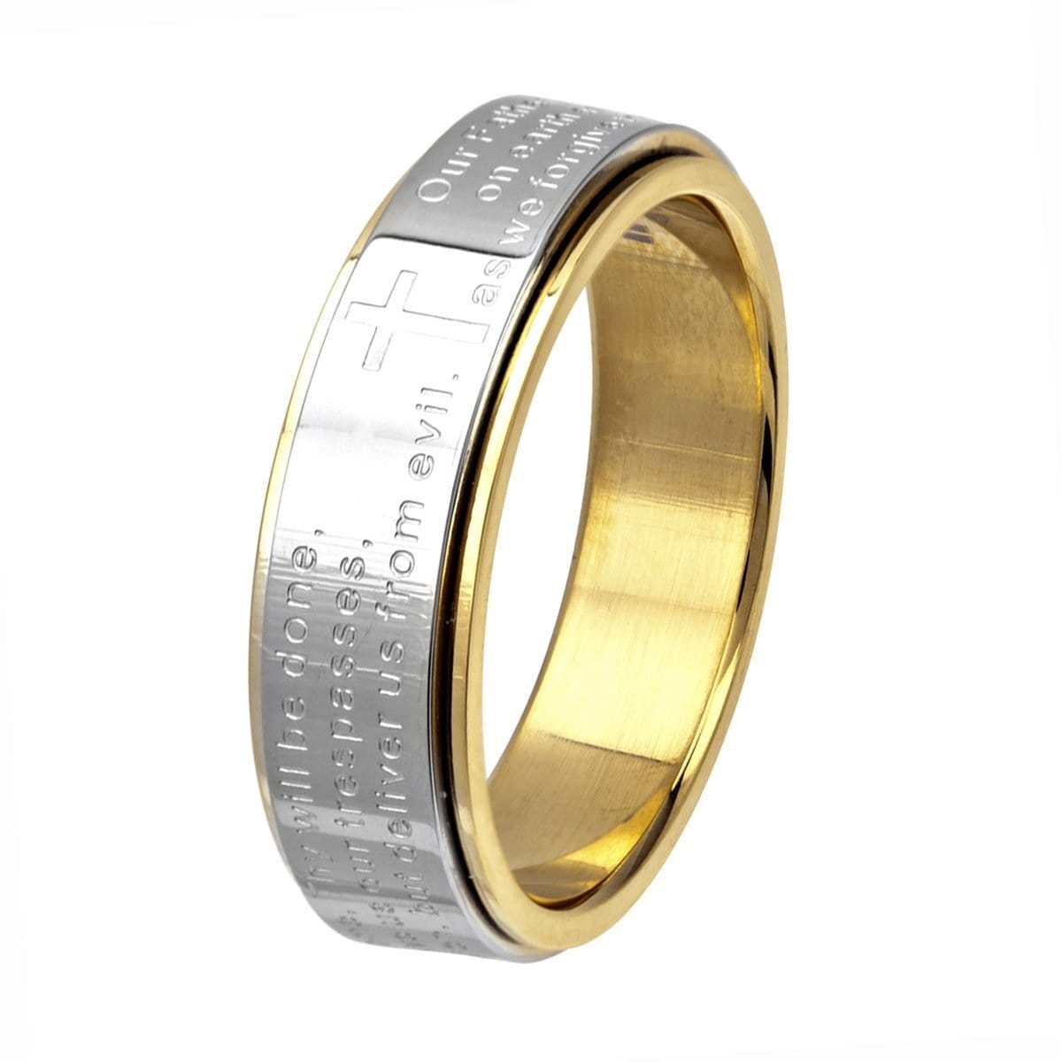 Gold & Silver Stainless Steel Prayer Ring Rings
