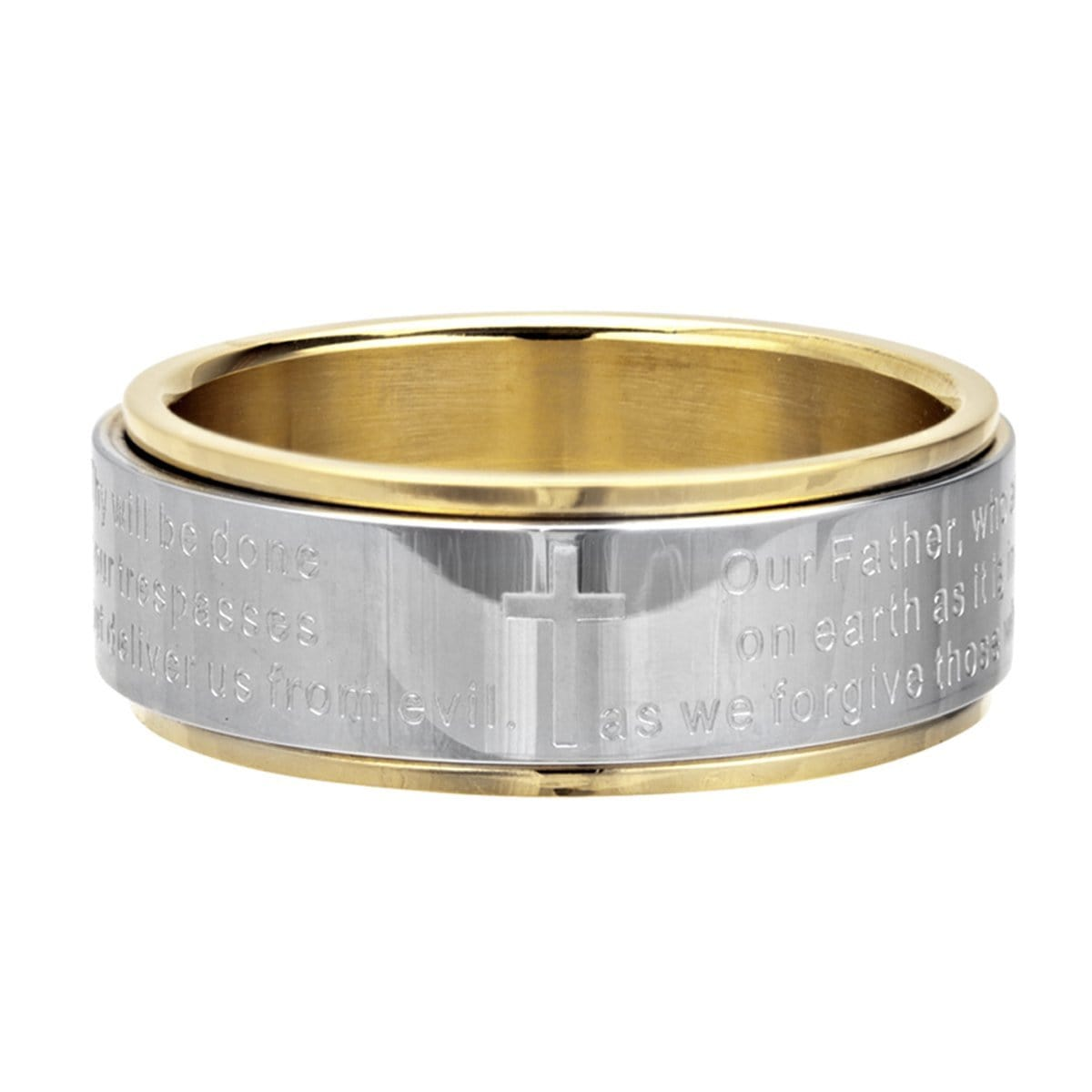 Gold & Silver Stainless Steel Prayer Ring