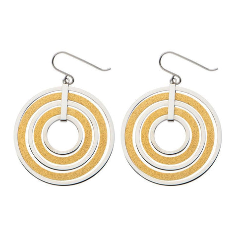 Gold & Silver Stainless Steel Stardust Sand Finish Multi-Ring Hook Earrings Earrings