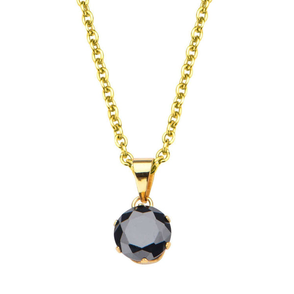 Gold Stainless Steel 8mm Solitaire Black CZ Pendant Pendants