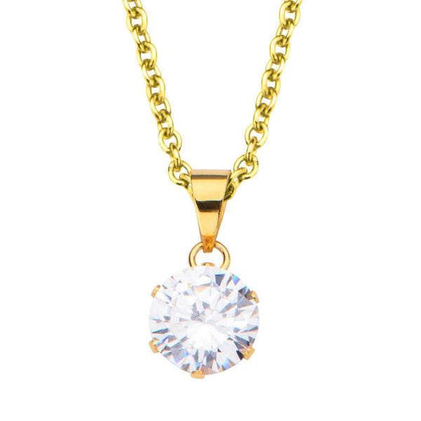 Gold Stainless Steel 8mm Solitaire CZ Pendant Pendants