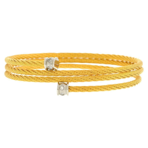 Gold Stainless Steel Adjustable Braided Cable Wire with CZ Detail Bangle Bracelets