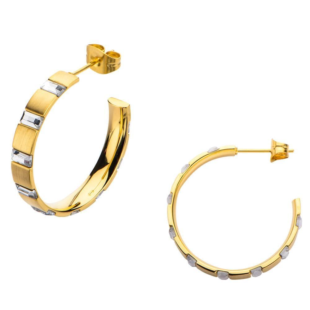 Gold Stainless Steel Alternating Rectangle Crystal Hoops Earrings