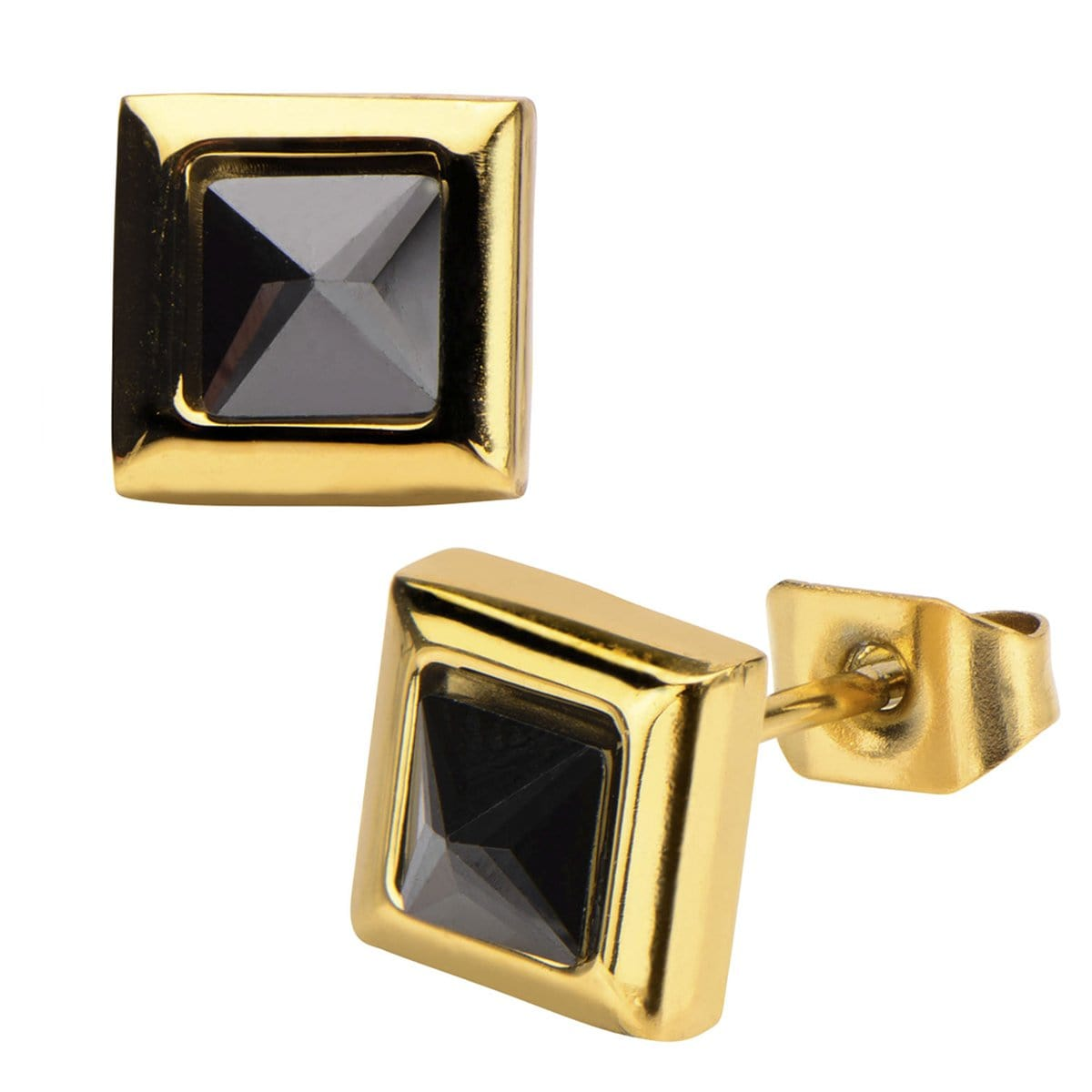 Gold Stainless Steel Black Pyramid Crystal Square Studs