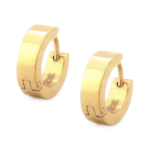 Gold Stainless Steel Classic 3.5 mm Huggies Earrings