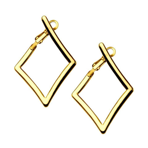 Gold Stainless Steel Diamond Cut-Out Hoops Earrings