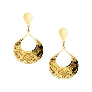 Gold Stainless Steel Double-Filigree Floral Design Earrings Earrings