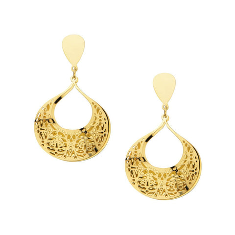 Gold Stainless Steel Double-Filigree Intricate Cut-Out Earrings Earrings