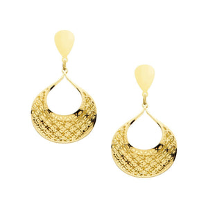 Gold Stainless Steel Double-Filigree Leaf Earrings Earrings