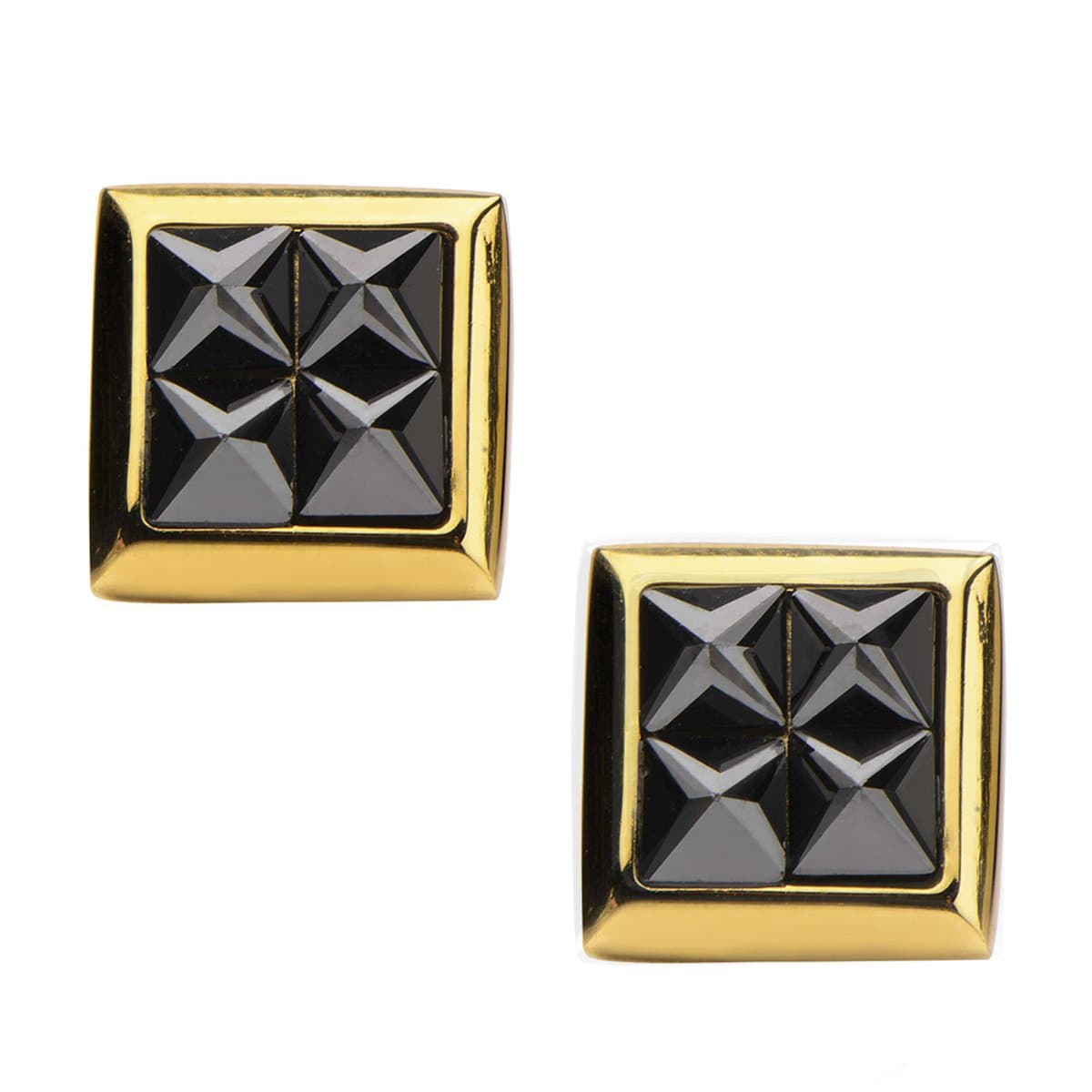 Gold Stainless Steel Four Black Pyramid Crystals Square Studs Earrings