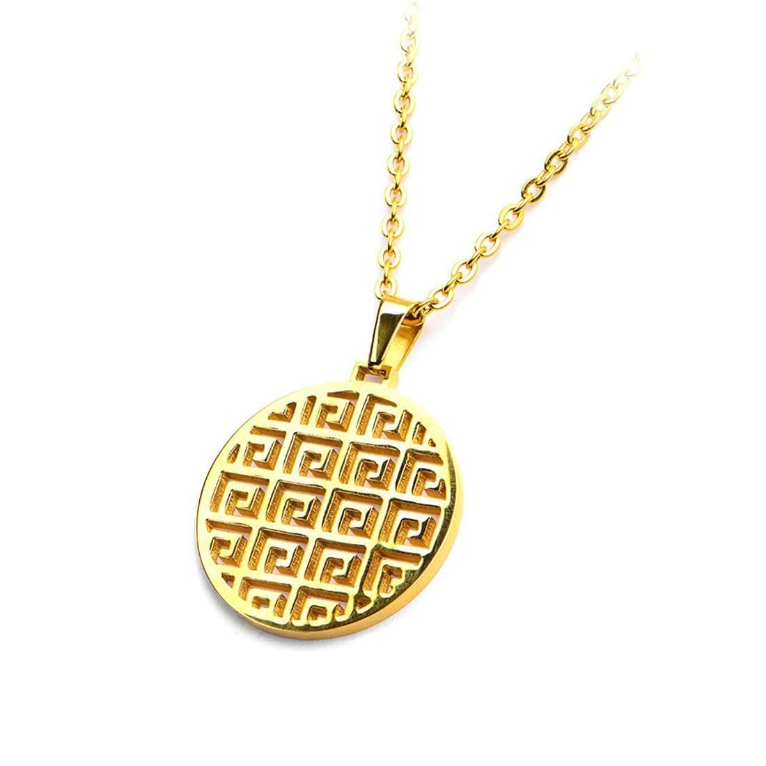 Gold Stainless Steel Greek Emblem Pendant Pendants