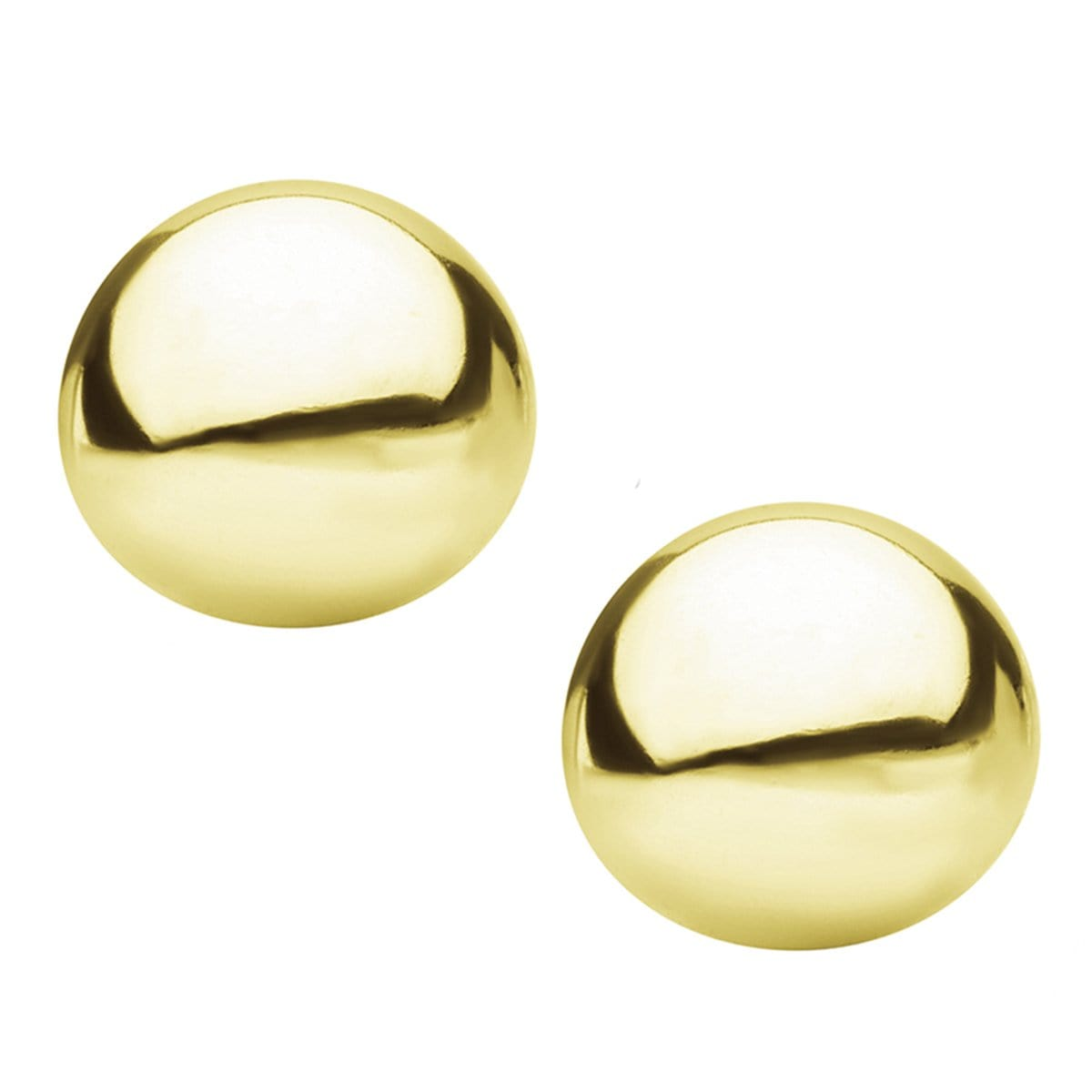 Gold Stainless Steel Large Round Dome Studs Earrings
