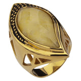 Gold Stainless Steel Large Tear Drop Yellow Jade Crystal Ring Rings