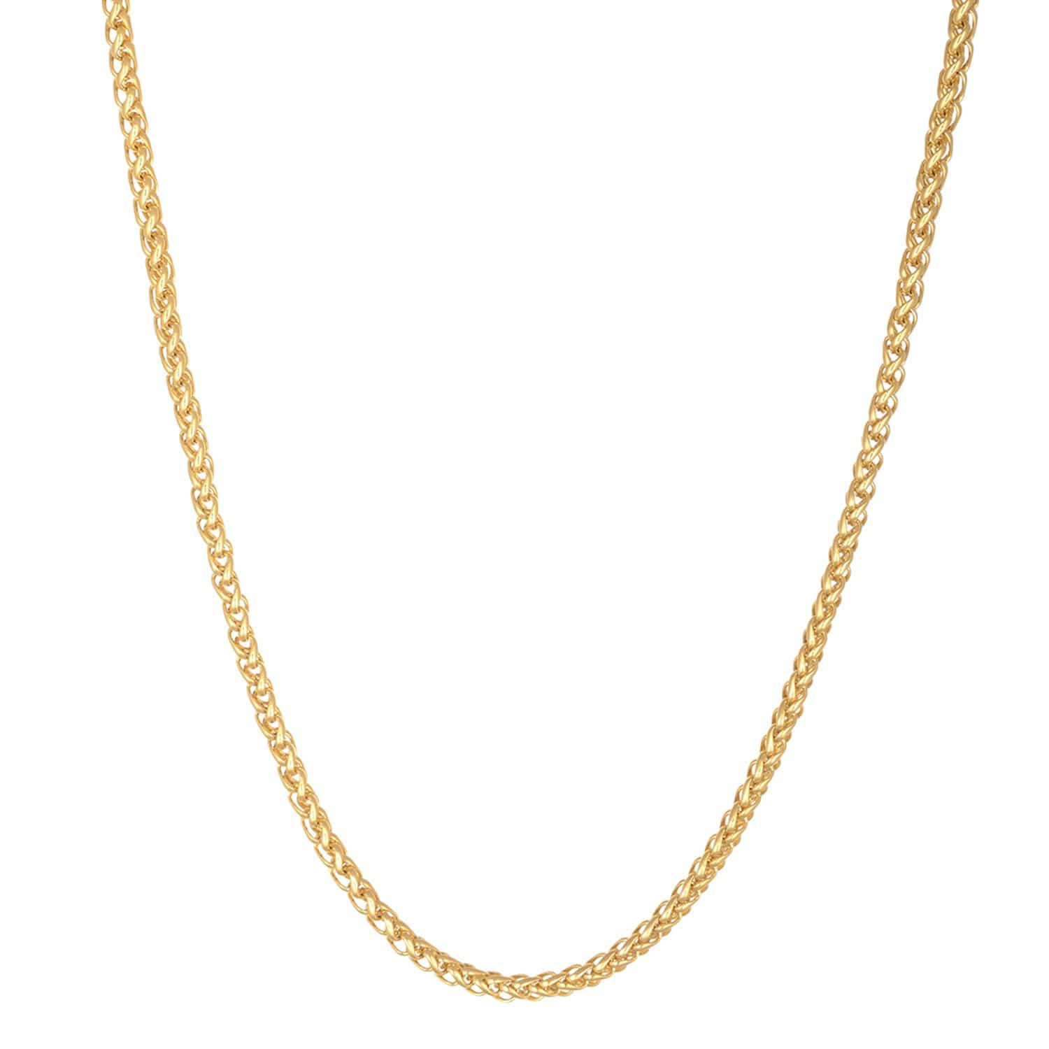 Gold Stainless Steel Polished 3.5 mm Round Wheat Chain Chains