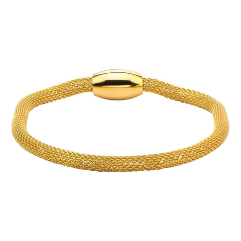 Gold Stainless Steel Polished Mesh Bracelet with Magnetic Closure Bracelets