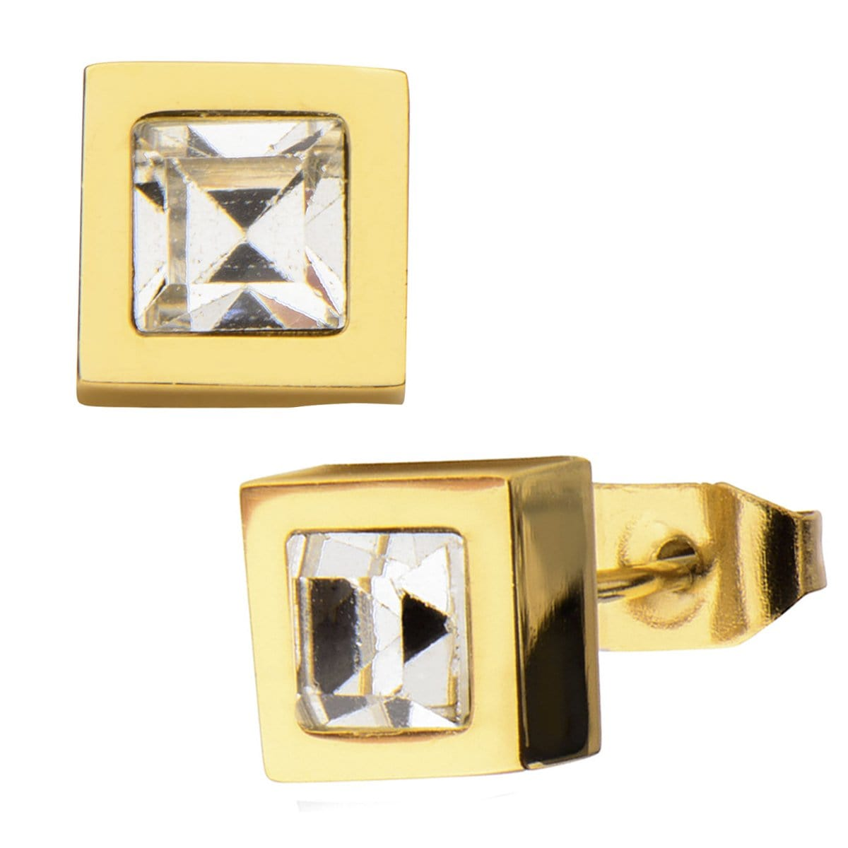 Gold Stainless Steel Princess Cut Crystal Square Studs Earrings
