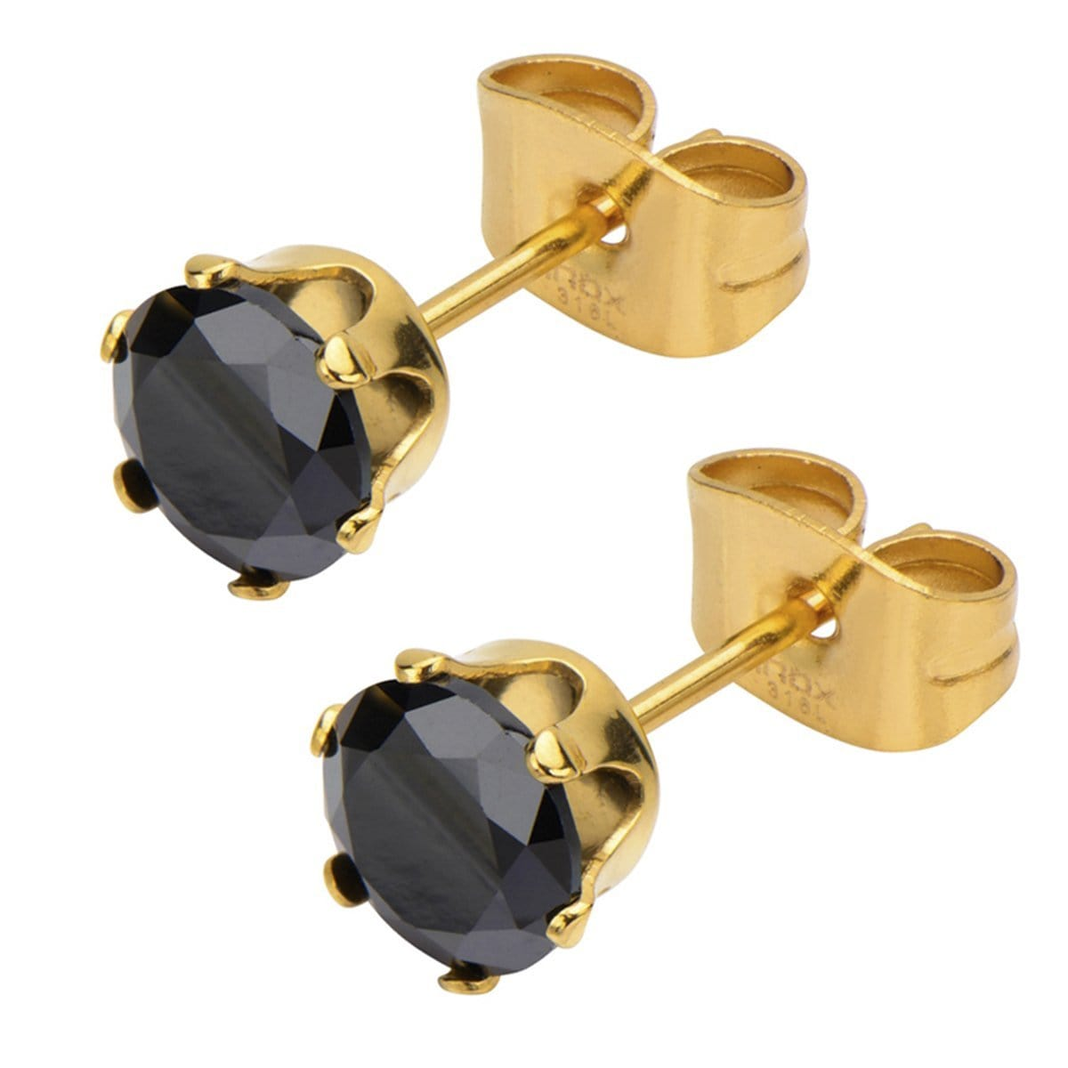 Gold Stainless Steel Six Prong Black CZ Solitaire Studs Earrings
