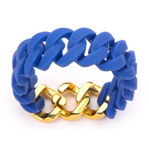 Gold Stainless Steel Stack Up Collection Blue Silicone Curb Bracelet Bracelets