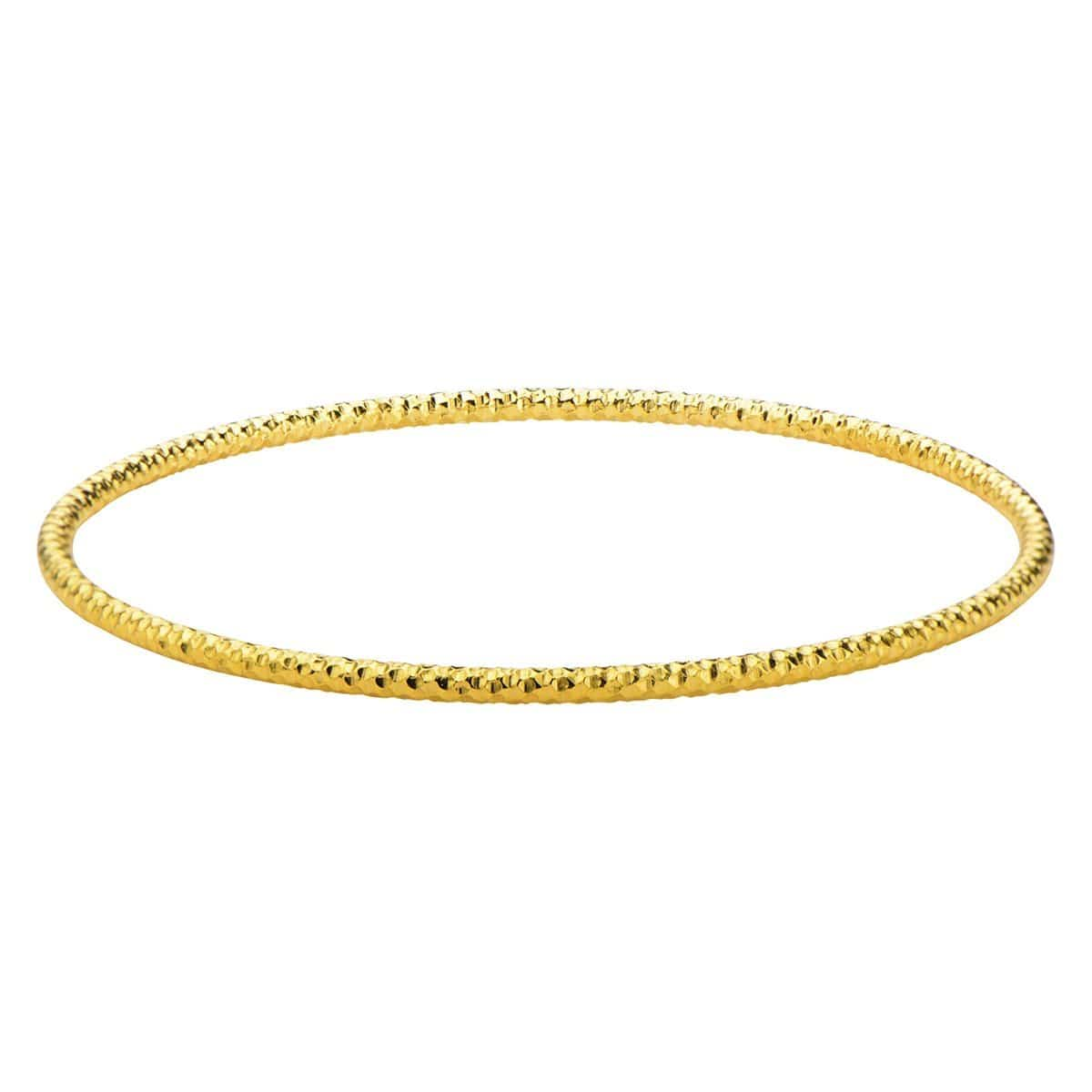 Gold Stainless Steel Thin Hammered Bangle