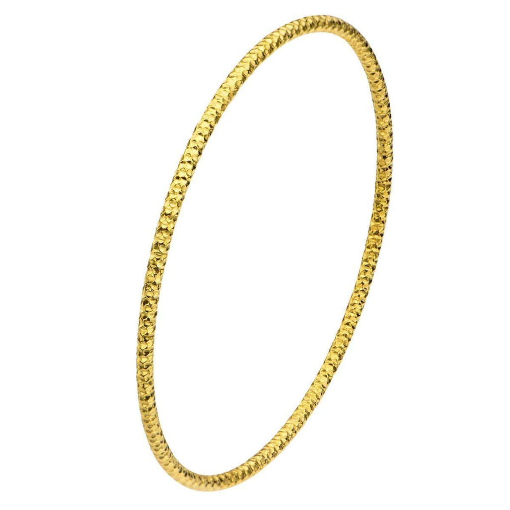 Gold Stainless Steel Thin Hammered Bangle Bracelets