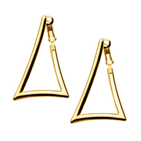 Gold Stainless Steel Triangle Cut-Out Hoops Earrings