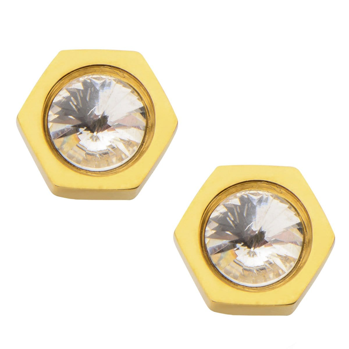 Gold Stainless Steel with Crystal Hexagon Studs Earrings