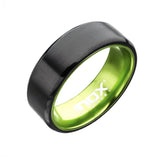 Black Stainless Steel with Green Aluminum Detail Band Ring