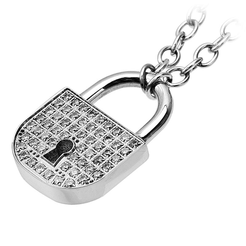 Silver Stainless Steel Lock Design Encrusted in CZ Necklace Chains