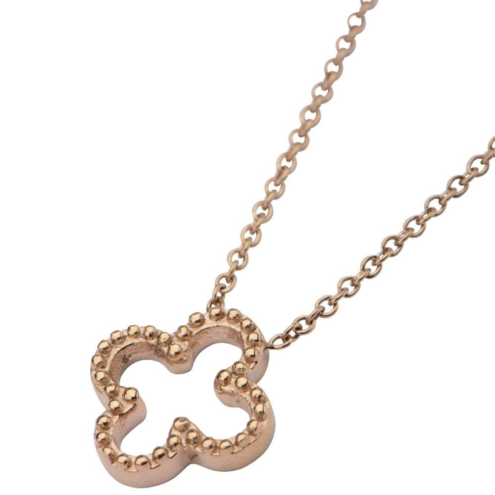 Rose Gold Stainless Steel Floral Pendant Chains