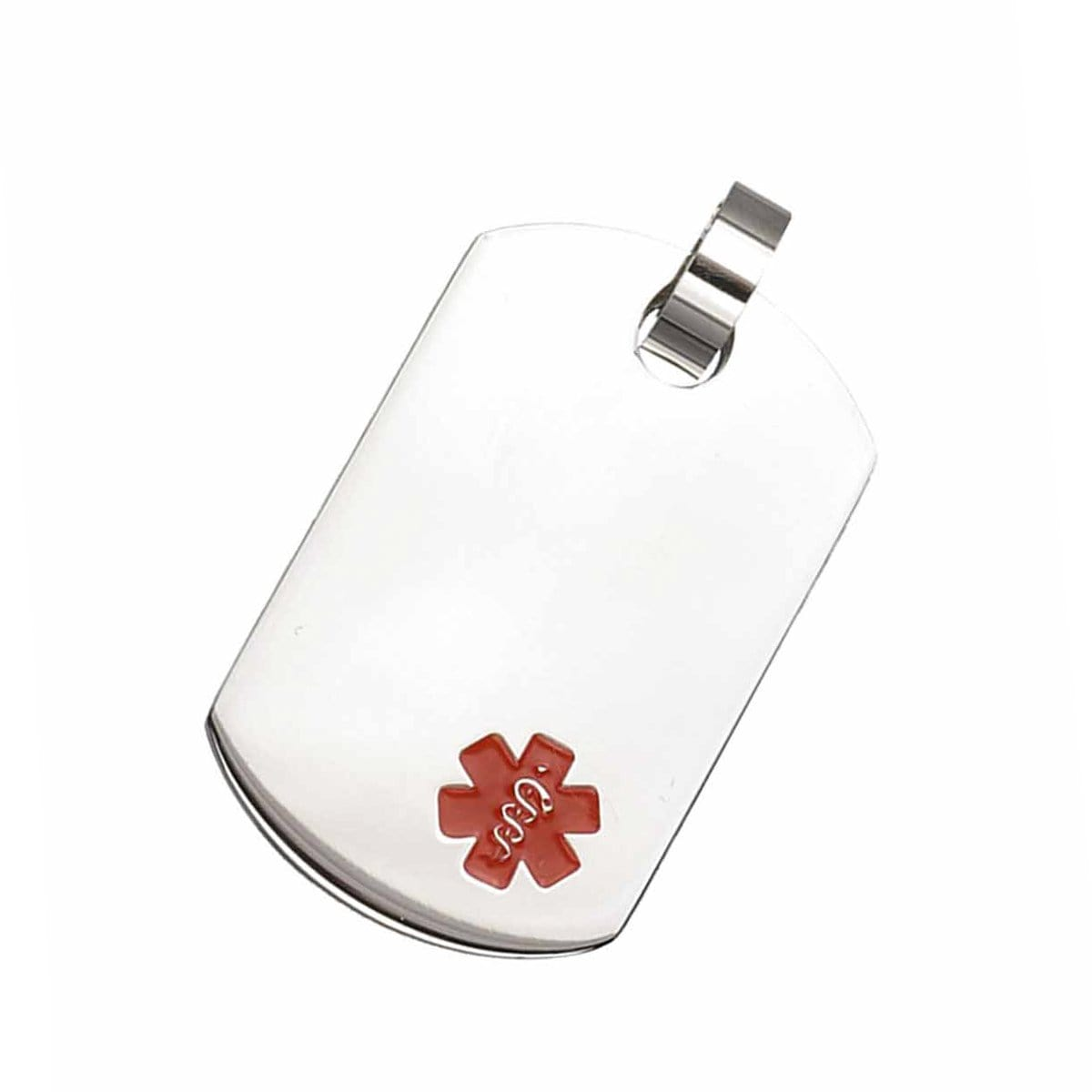 Red & Silver Stainless Steel Engravable Medical ID Tag Pendant & Chain Pendants
